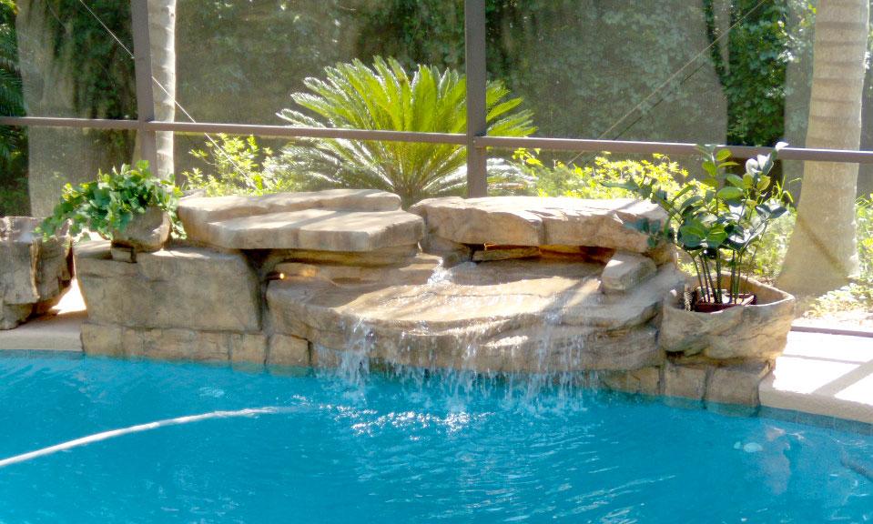 jacksonville pool waterfall design beautiful custom waterfalls for your pool deck. Black Bedroom Furniture Sets. Home Design Ideas