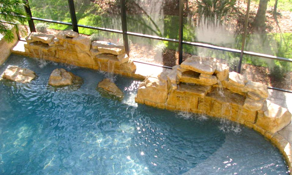 Jacksonville pool waterfall design beautiful custom for Pool design jacksonville fl